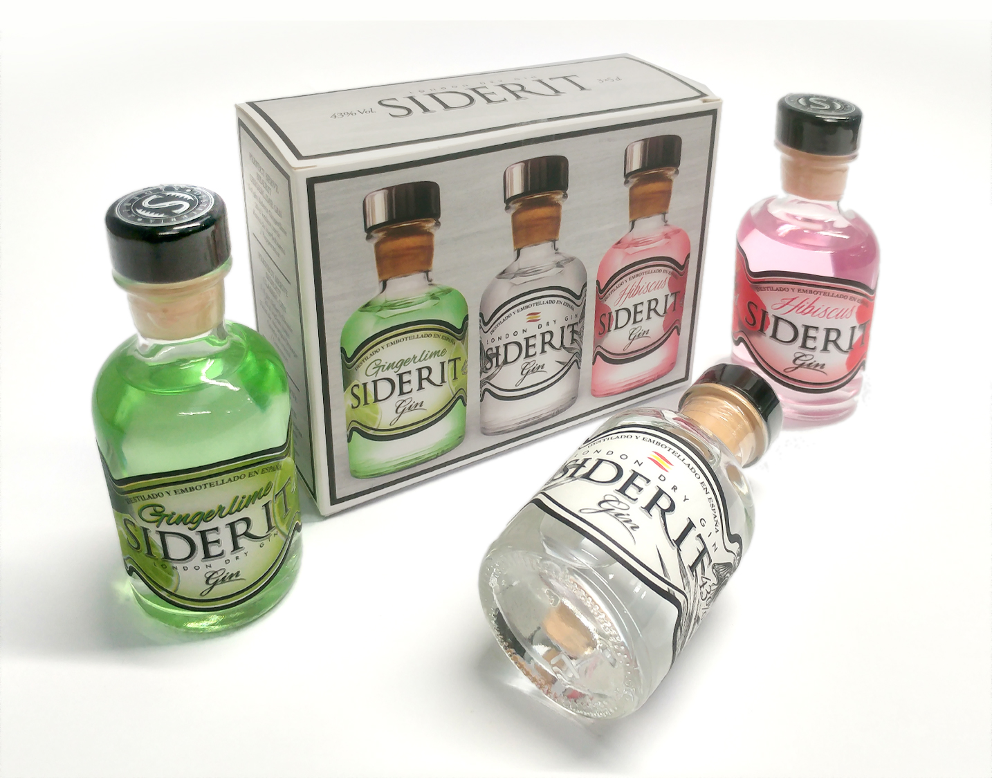 Estuche de mini botellas de Gin Siderit, 43% Alc., 3*50ml