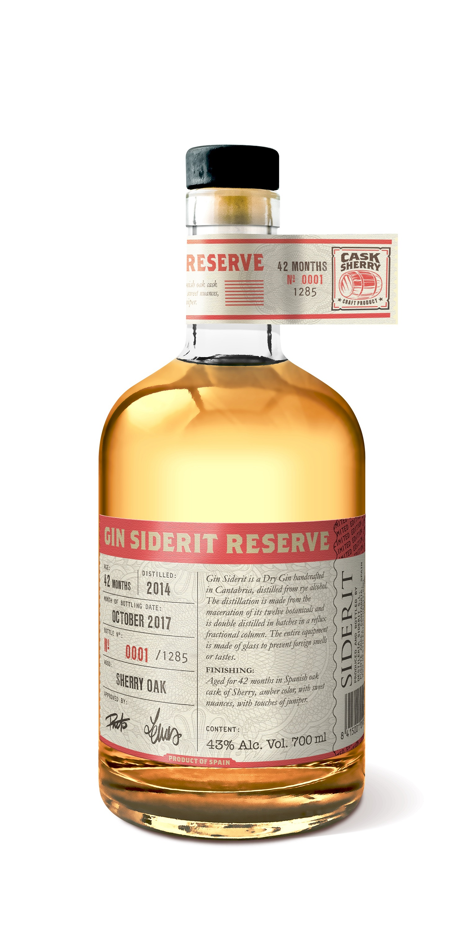 Gin Reserve Siderit aged in Sherry Oak Cask, 43% Alc, 700ml