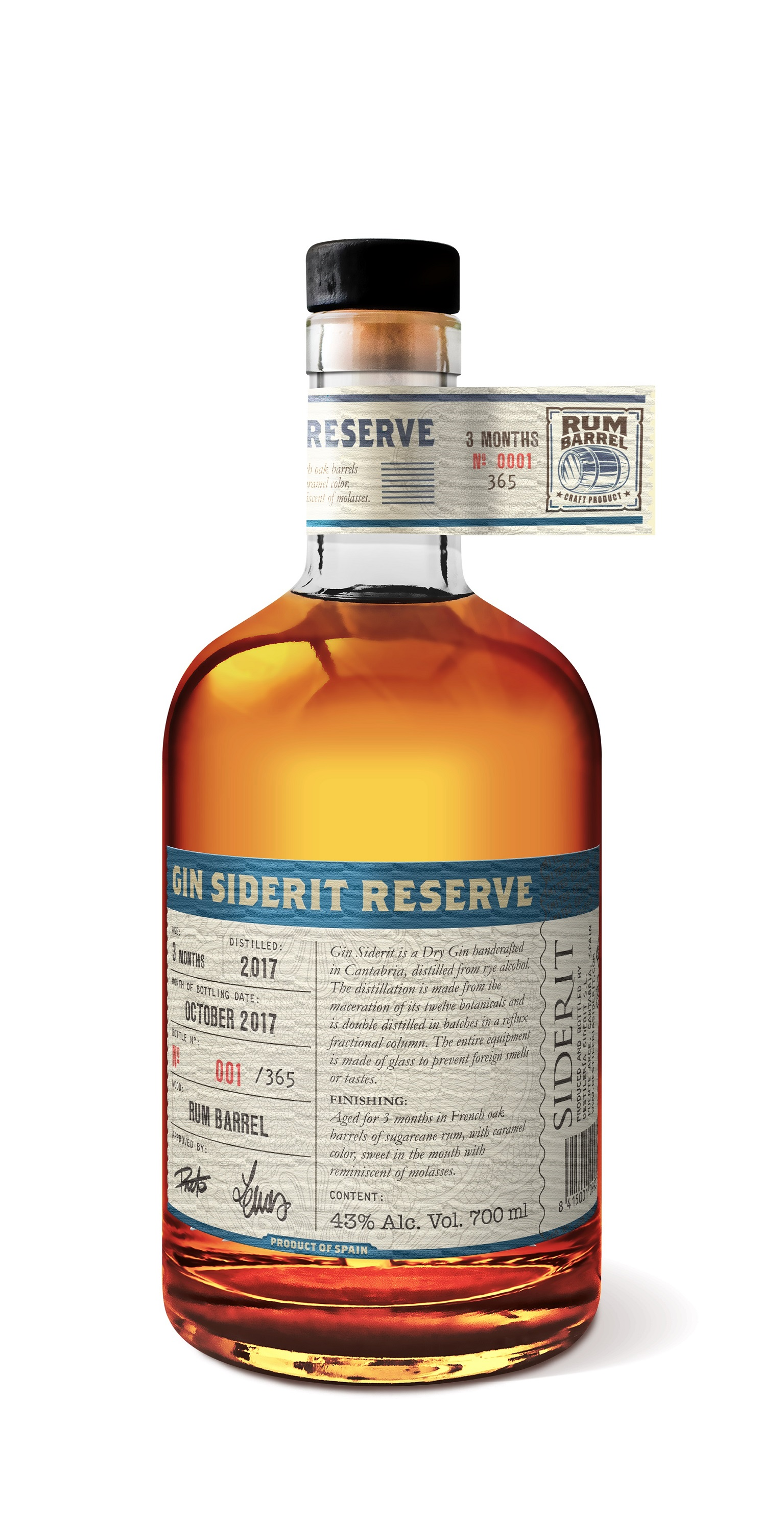 Gin Reserve Siderit aged in Rum barrel, 43% Alc., 700ml