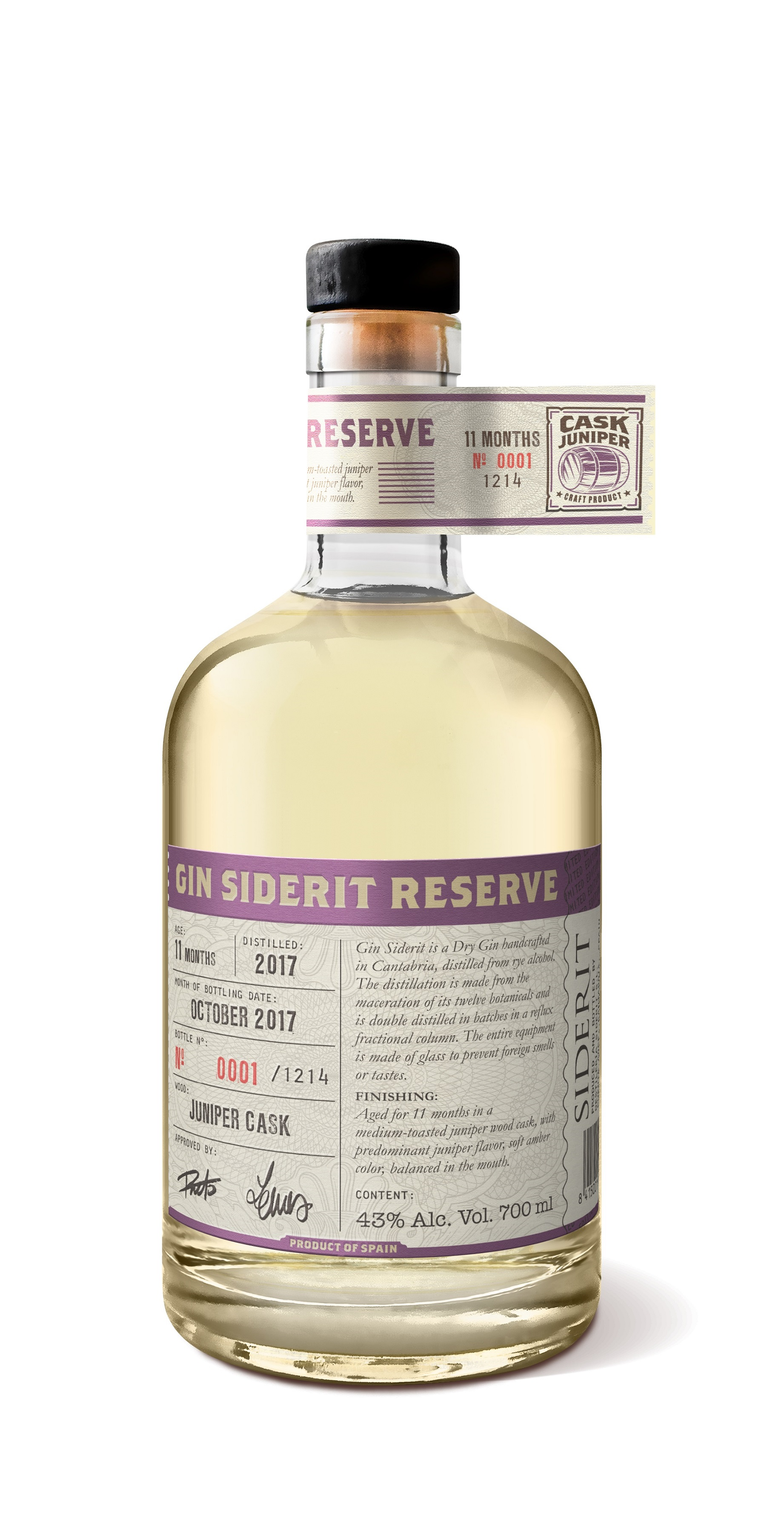 Gin Reserve Siderit aged in Juniper cask, 43% Alc, 700ml