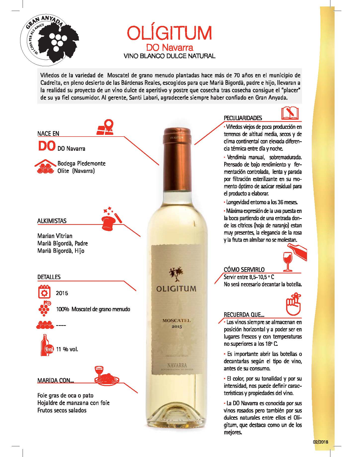 OLIGITUM DO Navarra, vino blanco dulce natural